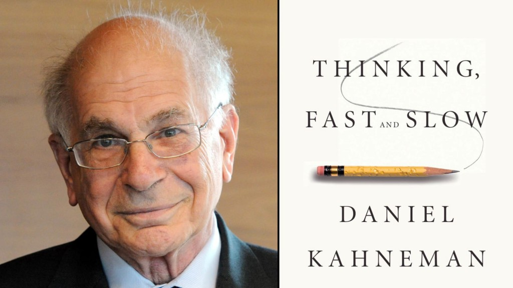 A picture of Daniel Kahneman's face next to the cover of his book: Thinking Fast and Slow.