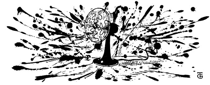 A cartoon style drawing in black and white splodey ink of an electric fan surrounded by messy splatterings. Suggestive of the phrase the shit has hit the fan